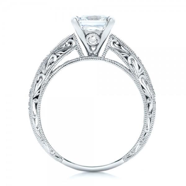 Blue Sapphire Engagement Ring - Kirk Kara - Finger Through View