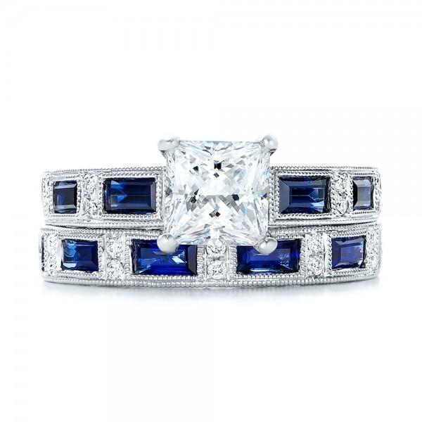 Blue Sapphire Engagement Ring - Kirk Kara - Top View