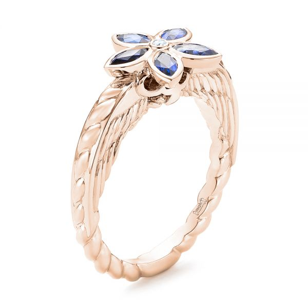 14k Rose Gold 14k Rose Gold Blue Sapphire Flower Engagement Ring - Three-Quarter View -