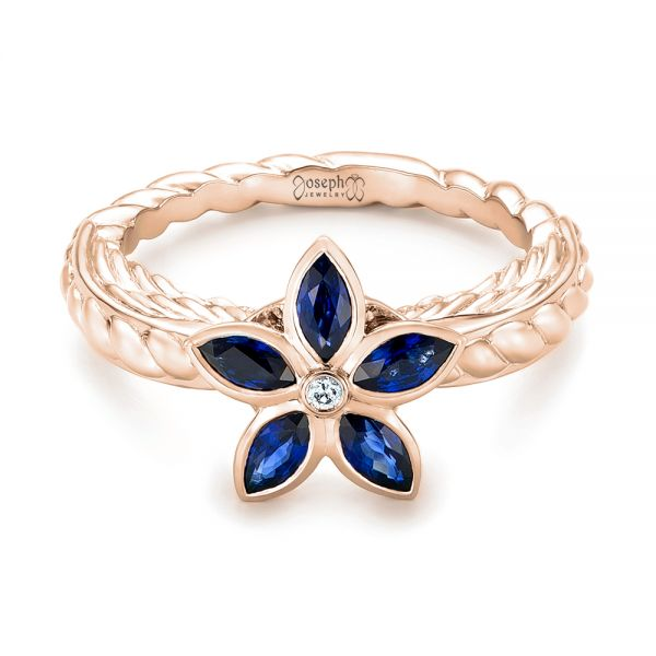 14k Rose Gold 14k Rose Gold Blue Sapphire Flower Engagement Ring - Flat View -