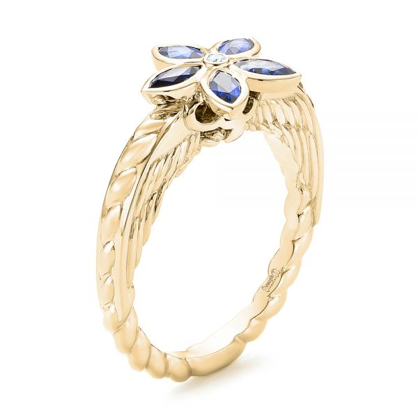 18k Yellow Gold 18k Yellow Gold Blue Sapphire Flower Engagement Ring - Three-Quarter View -