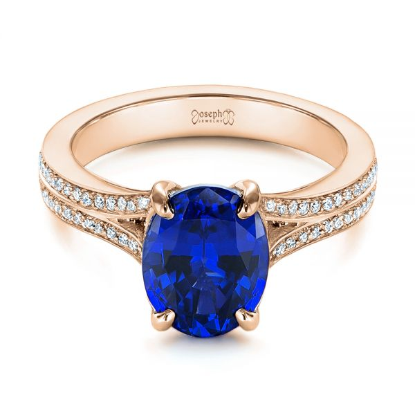 14k Rose Gold 14k Rose Gold Blue Sapphire And Diamond Engagement Ring - Flat View -  105712