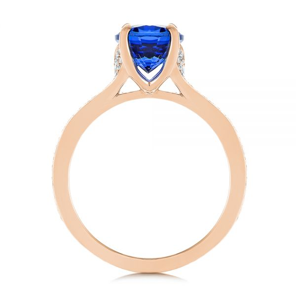 14k Rose Gold 14k Rose Gold Blue Sapphire And Diamond Engagement Ring - Front View -  105712