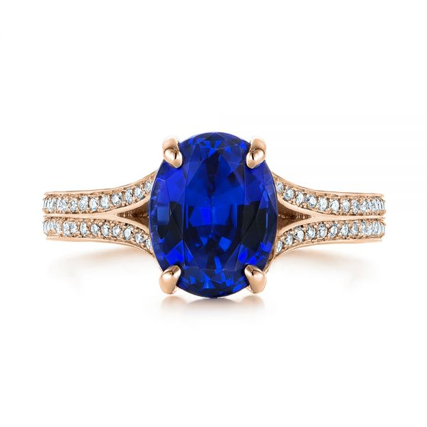 14k Rose Gold 14k Rose Gold Blue Sapphire And Diamond Engagement Ring - Top View -  105712