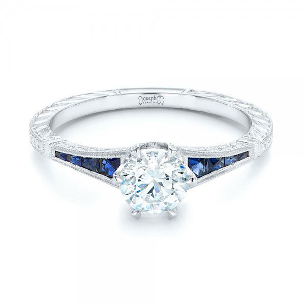 18k White Gold Blue Sapphire And Diamond Engagement Ring - Flat View -
