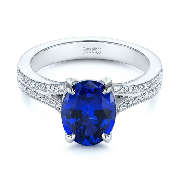 Platinum Blue Sapphire And Diamond Engagement Ring - Flat View -  105712