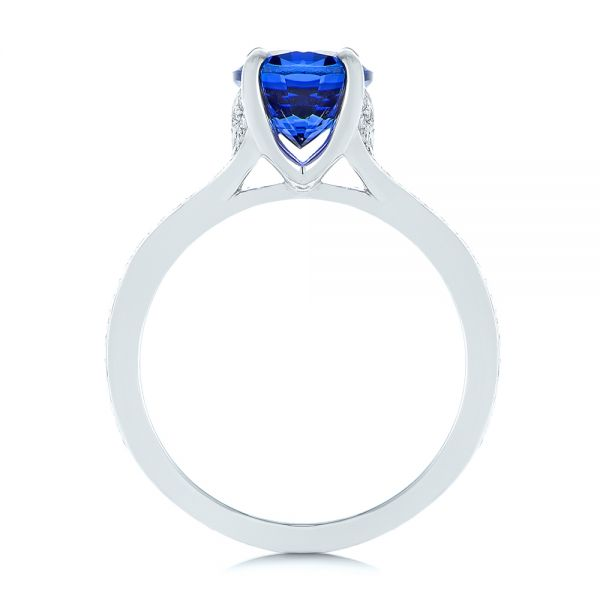 Platinum Blue Sapphire And Diamond Engagement Ring - Front View -  105712