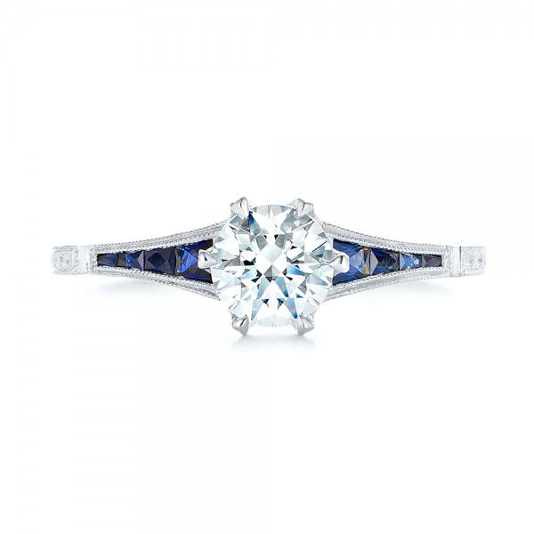 18k White Gold Blue Sapphire And Diamond Engagement Ring - Top View -