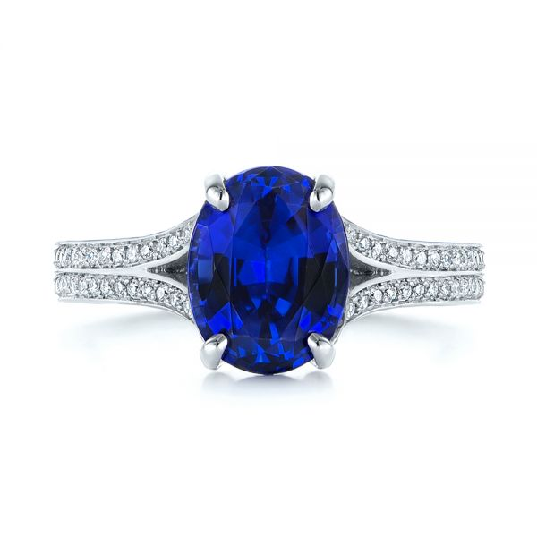 Platinum Blue Sapphire And Diamond Engagement Ring - Top View -  105712