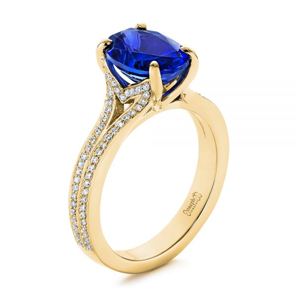 Blue Sapphire and Diamond Engagement Ring - Image