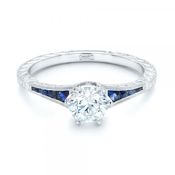 Blue Sapphire and Diamond Engagement Ring - Laying View
