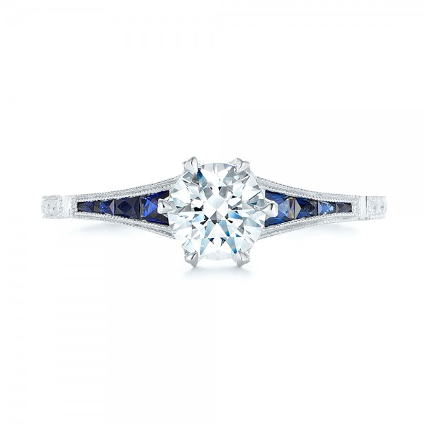 Blue Sapphire and Diamond Engagement Ring - Top View