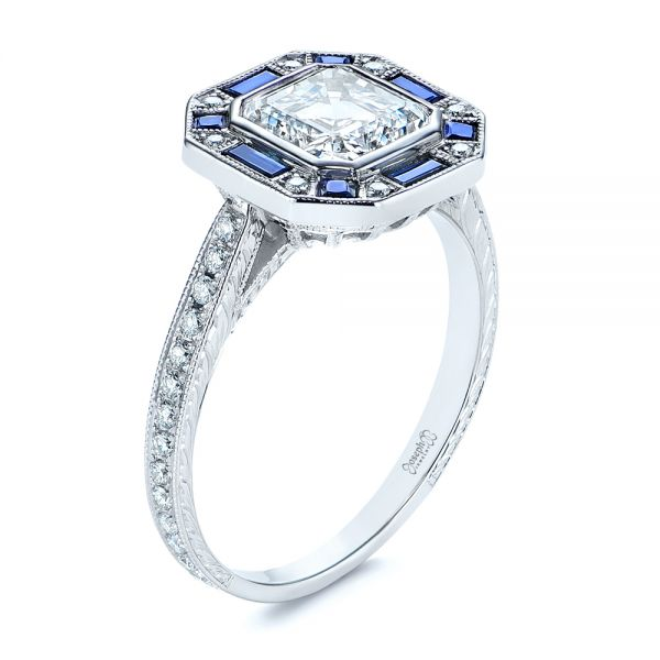 18k White Gold Blue Sapphire And Diamond Halo Engagement Ring - Three-Quarter View -