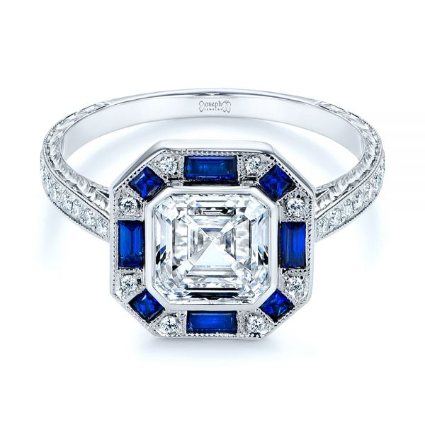 18k White Gold Blue Sapphire And Diamond Halo Engagement Ring - Flat View -