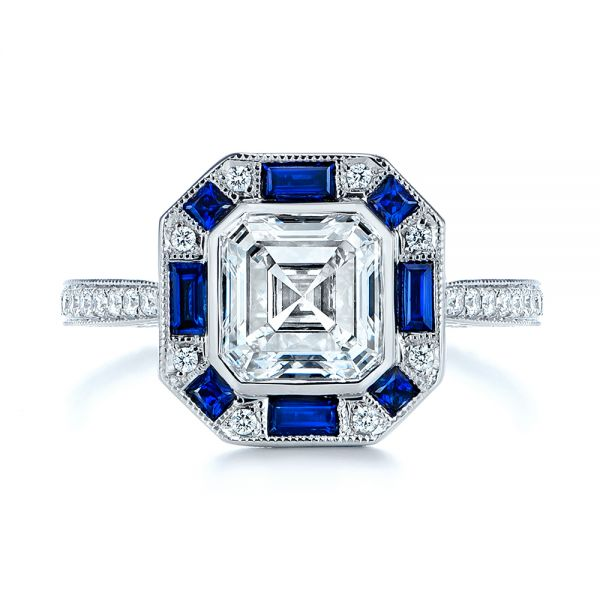 18k White Gold Blue Sapphire And Diamond Halo Engagement Ring - Top View -