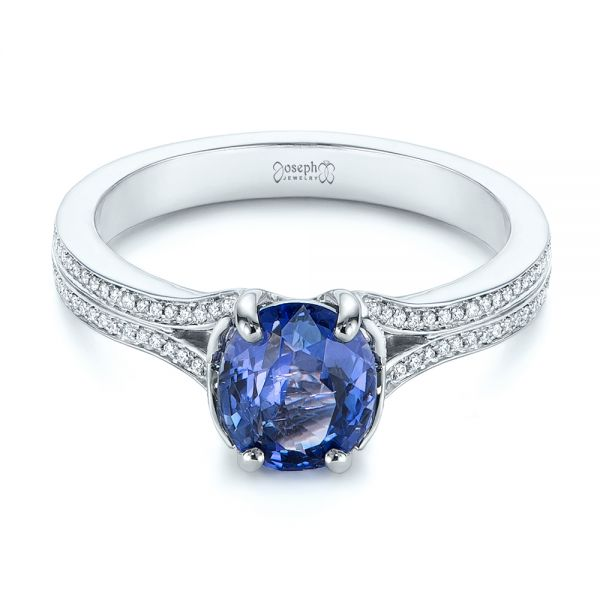Blue Sapphire and Diamond Split Shank Engagement Ring