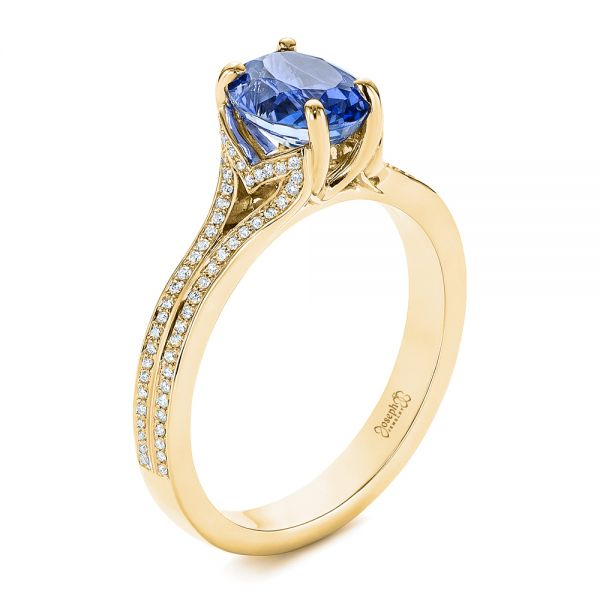 Blue Sapphire and Diamond Split Shank Engagement Ring - Image