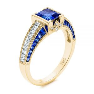 Blue Sapphire and Diamond Vintage-inspired Engagement Ring - Image