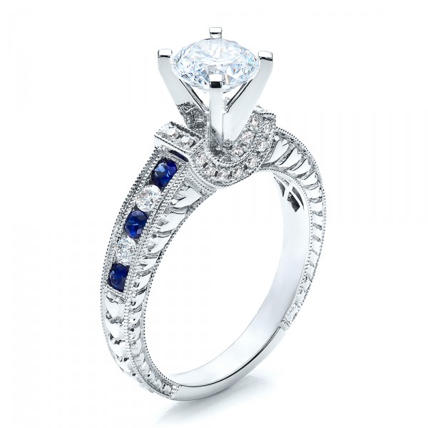 Blue Sapphires Engagement Ring - Vanna K