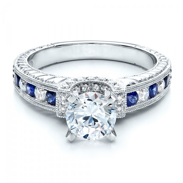 Blue Sapphires Engagement Ring - Vanna K - Laying View