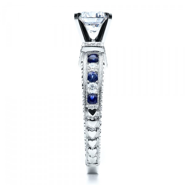Blue Sapphires Engagement Ring - Vanna K - Side View