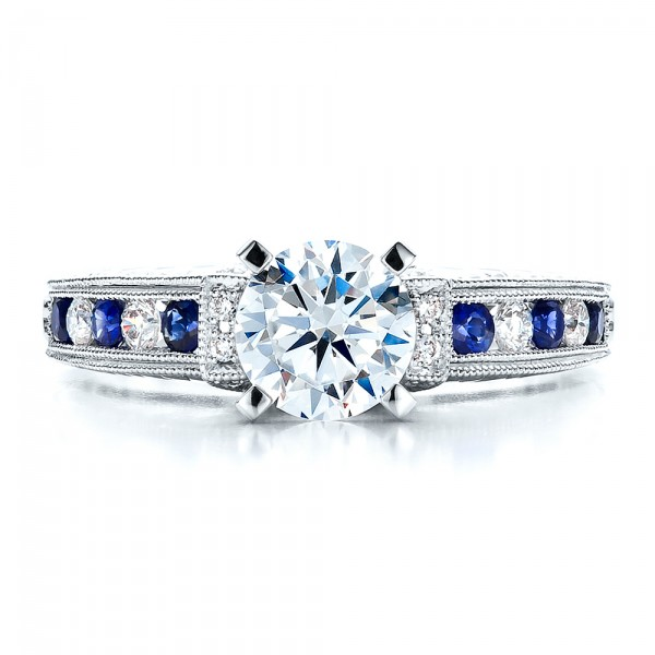 Blue Sapphires Engagement Ring - Vanna K - Top View