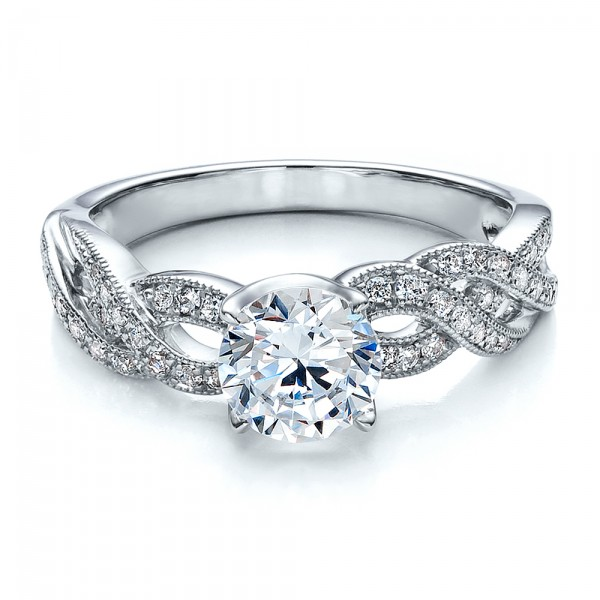 Braided Pave Engagement Ring - Vanna K - Laying View