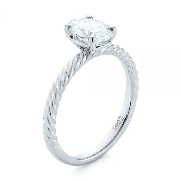 Braided Solitaire Diamond Engagement Ring - Image