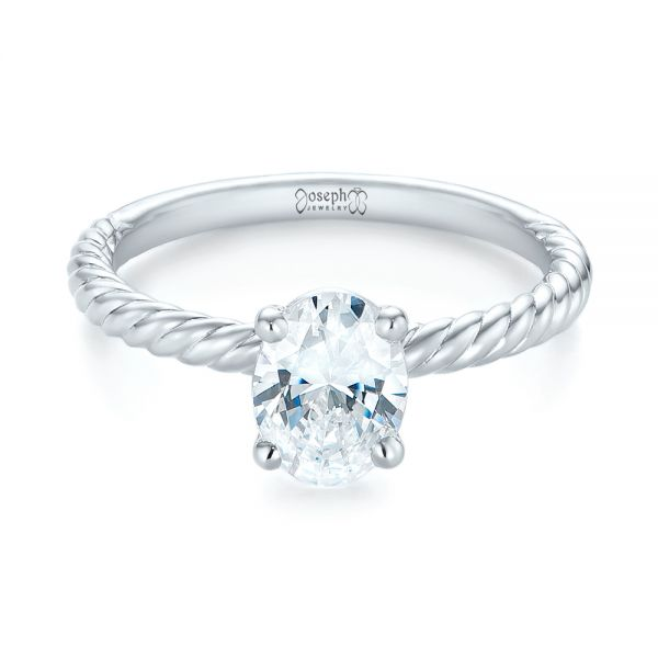 14k White Gold Braided Solitaire Diamond Engagement Ring - Flat View -  104179