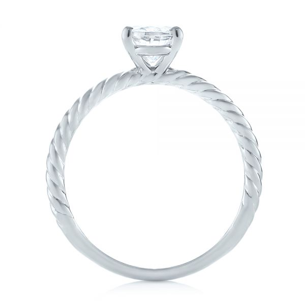 14k White Gold Braided Solitaire Diamond Engagement Ring - Front View -  104179