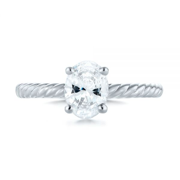 14k White Gold Braided Solitaire Diamond Engagement Ring - Top View -  104179
