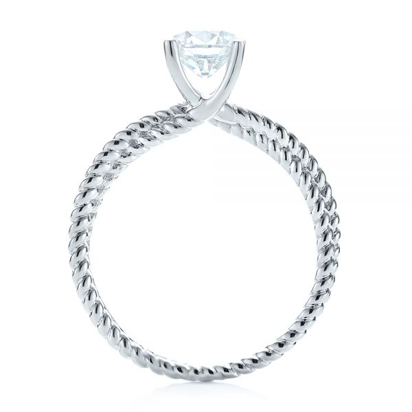 18k White Gold Braided Women's Engagement Ring - Front View -
