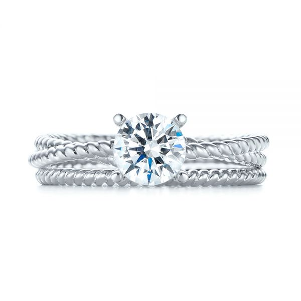 18k White Gold Braided Women's Engagement Ring - Top View -