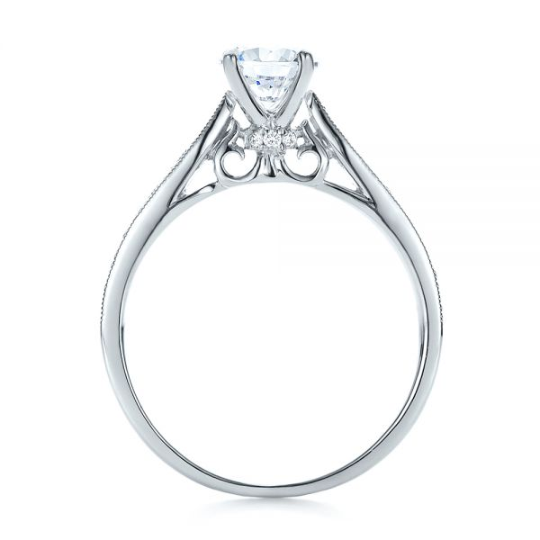 Bright Cut Diamond Engagement Ring - Front View -  100406 - Thumbnail