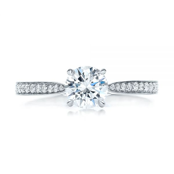 Bright Cut Diamond Engagement Ring - Image