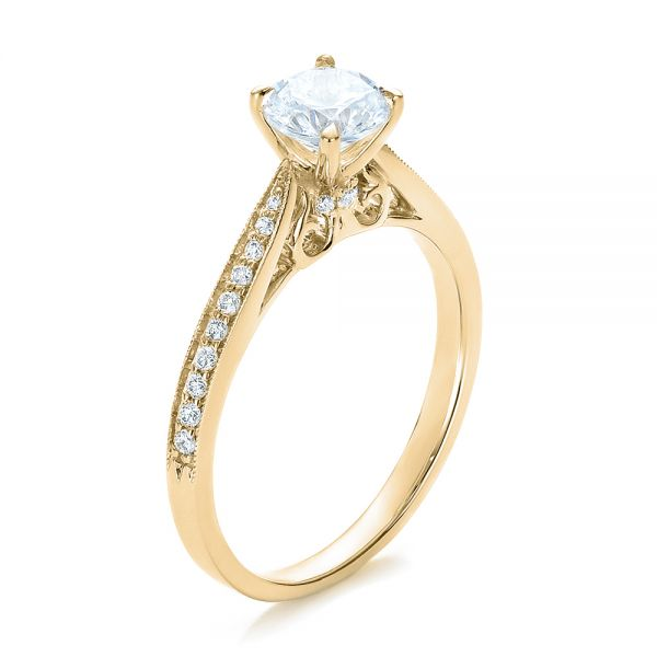 14k Yellow Gold 14k Yellow Gold Bright Cut Diamond Engagement Ring - Three-Quarter View -