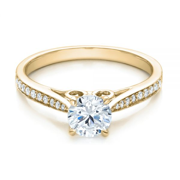 14k Yellow Gold 14k Yellow Gold Bright Cut Diamond Engagement Ring - Flat View -