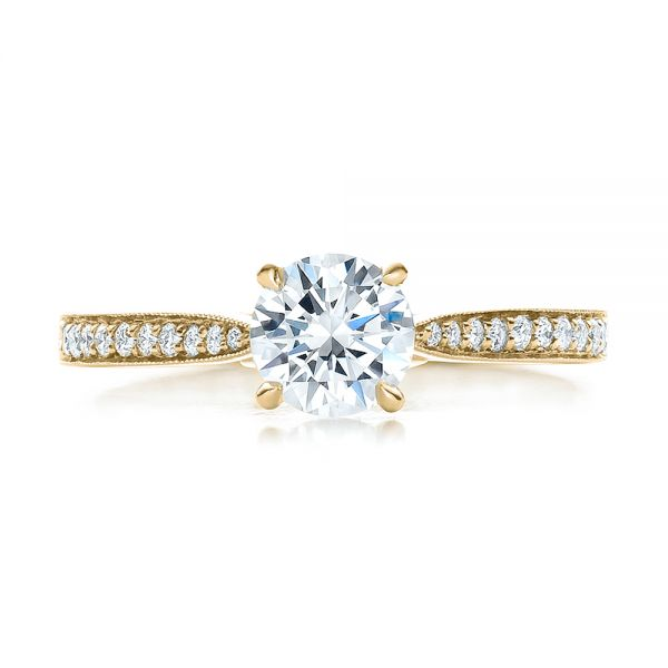 14k Yellow Gold 14k Yellow Gold Bright Cut Diamond Engagement Ring - Top View -
