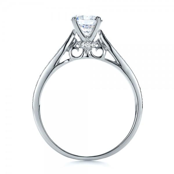 Bright Cut Diamond Engagement Ring - Finger Through View