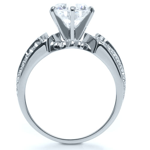 Bright Cut Diamond Engagement Ring - Finger Through View