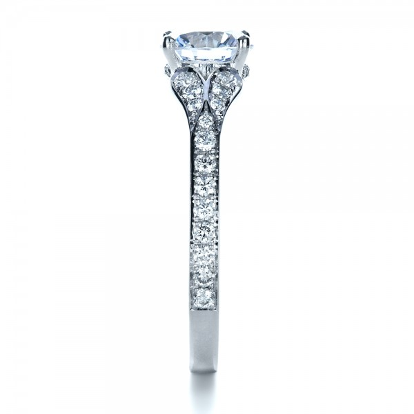 Bright Cut Diamond Engagement Ring - Side View