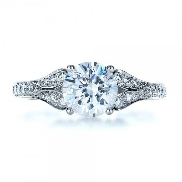 Bright Cut Diamond Engagement Ring - Top View