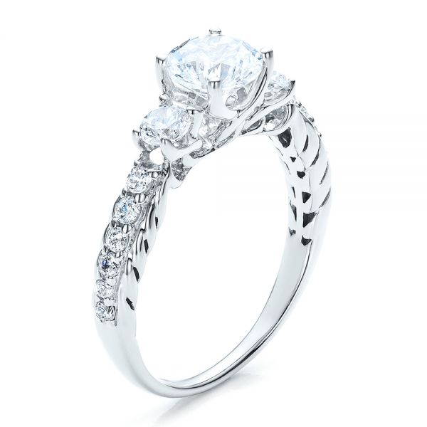 Brilliant Cut, Three Stone Engagement Ring - Vanna K