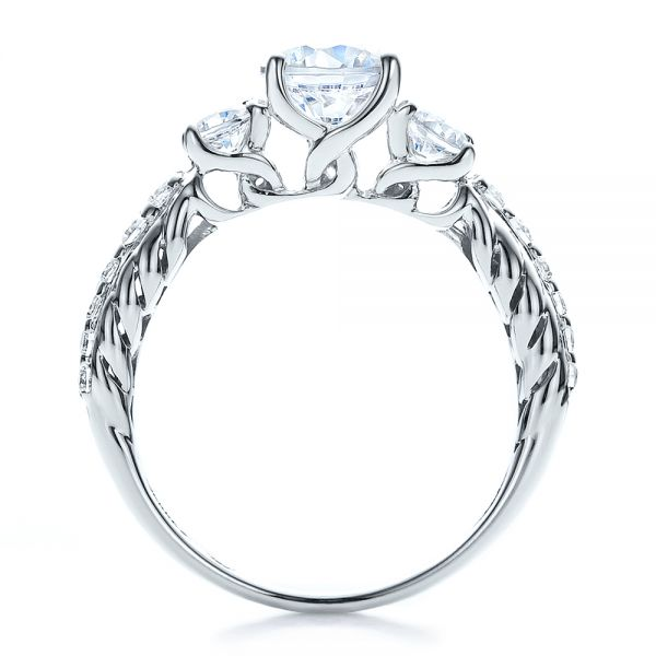 18k White Gold Brilliant Cut Three Stone Engagement Ring - Vanna K - Front View -