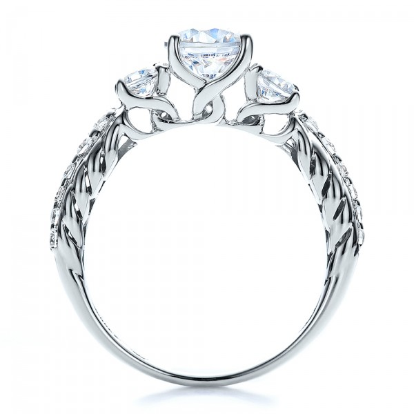 Brilliant Cut, Three Stone Engagement Ring - Vanna K - Finger Through View