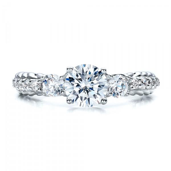 Brilliant Cut, Three Stone Engagement Ring - Vanna K - Top View