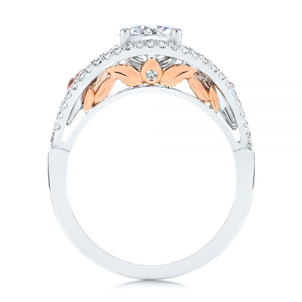 14k Rose Gold And 14K Gold Calla Lilly Custom Diamond Engagement Ring - Front View -  105831 - Thumbnail