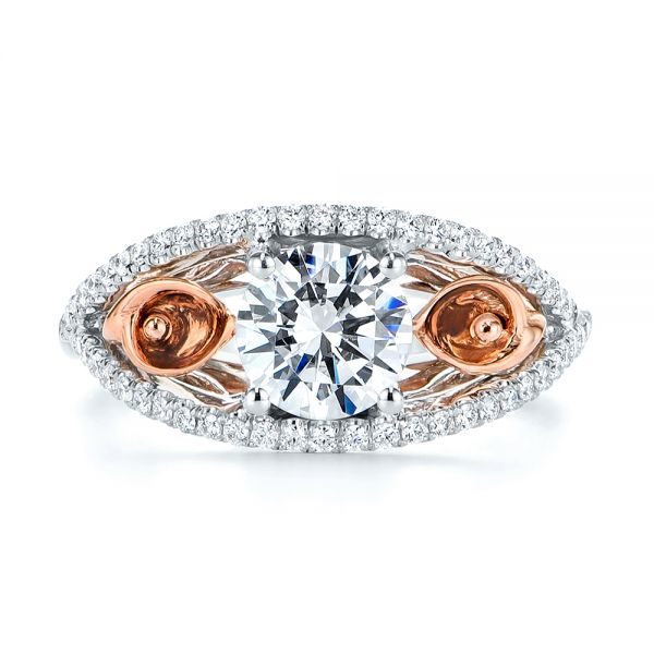 14k Rose Gold And 14K Gold Calla Lilly Custom Diamond Engagement Ring - Top View -  105831 - Thumbnail