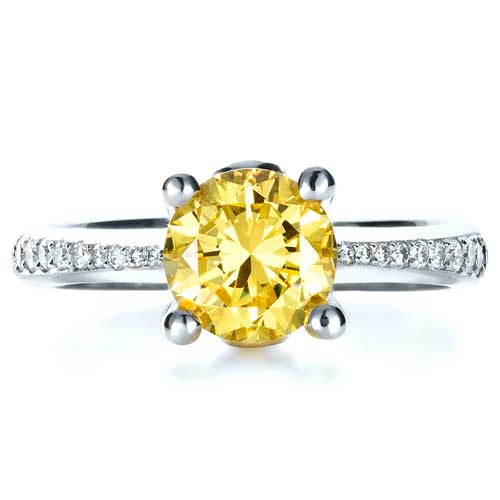 Canary Yellow Diamond Engagement Ring - Top View -  1291 - Thumbnail