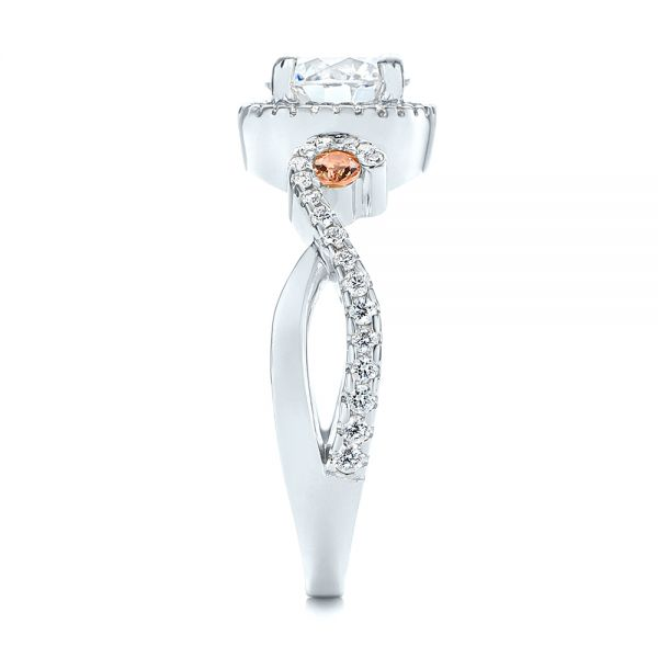 Platinum Platinum Champagne Sapphire And Diamond Halo Engagement Ring - Side View -  105286